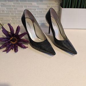BCBGirls Women 9B Black/White Stripe Patent Heels